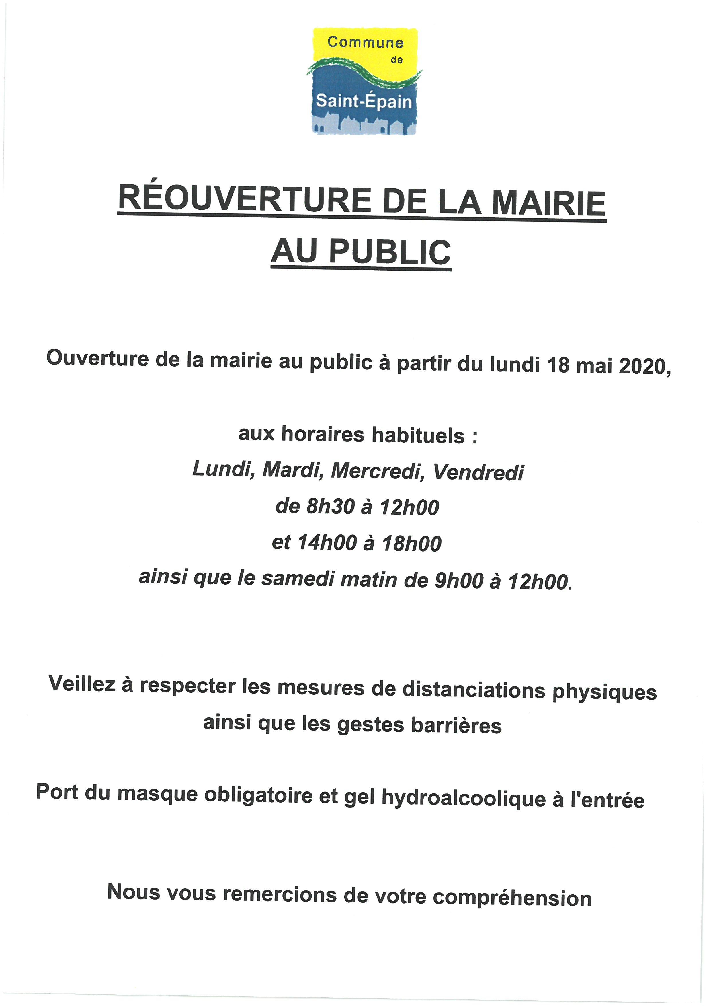 RÉOUVERTURE DE LA MAIRIE